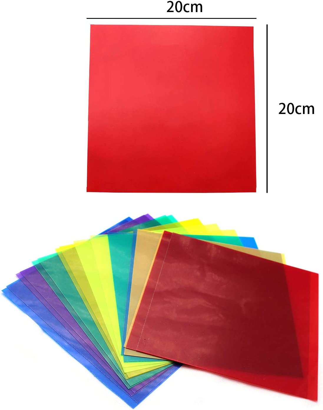 16 Pack Colored Overlays Transparency Color Film Plastic Sheets Correction Gel Light Filter Sheet,20 by 20cm,8 Assorted Colors