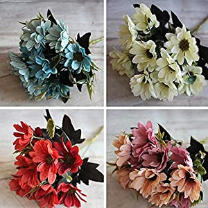 ESHOO 1 Bunch Daisy Flower Bouquet Artificial Flower for Wedding Home Party Floral Decor 96