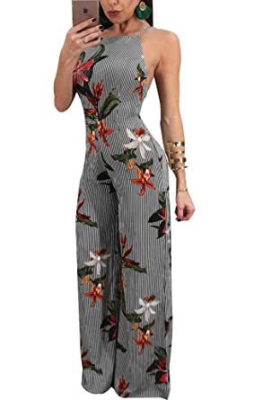 df226bb5f94b Remelon Womens Spaghetti Strap Floral Stripe Print Backless Tie Up High  Waisted Wide Leg Jumpsuits Long