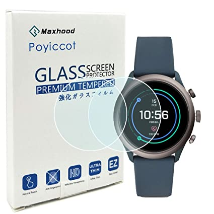 Poyiccot (2-Pack) for Fossil Sport 43mm 2018 Gen4 Screen Protector Tempered Glass,0.3mm Ultra-Thin 9H Hardness Anti-Fingerprint 2.5D Round Edge ...