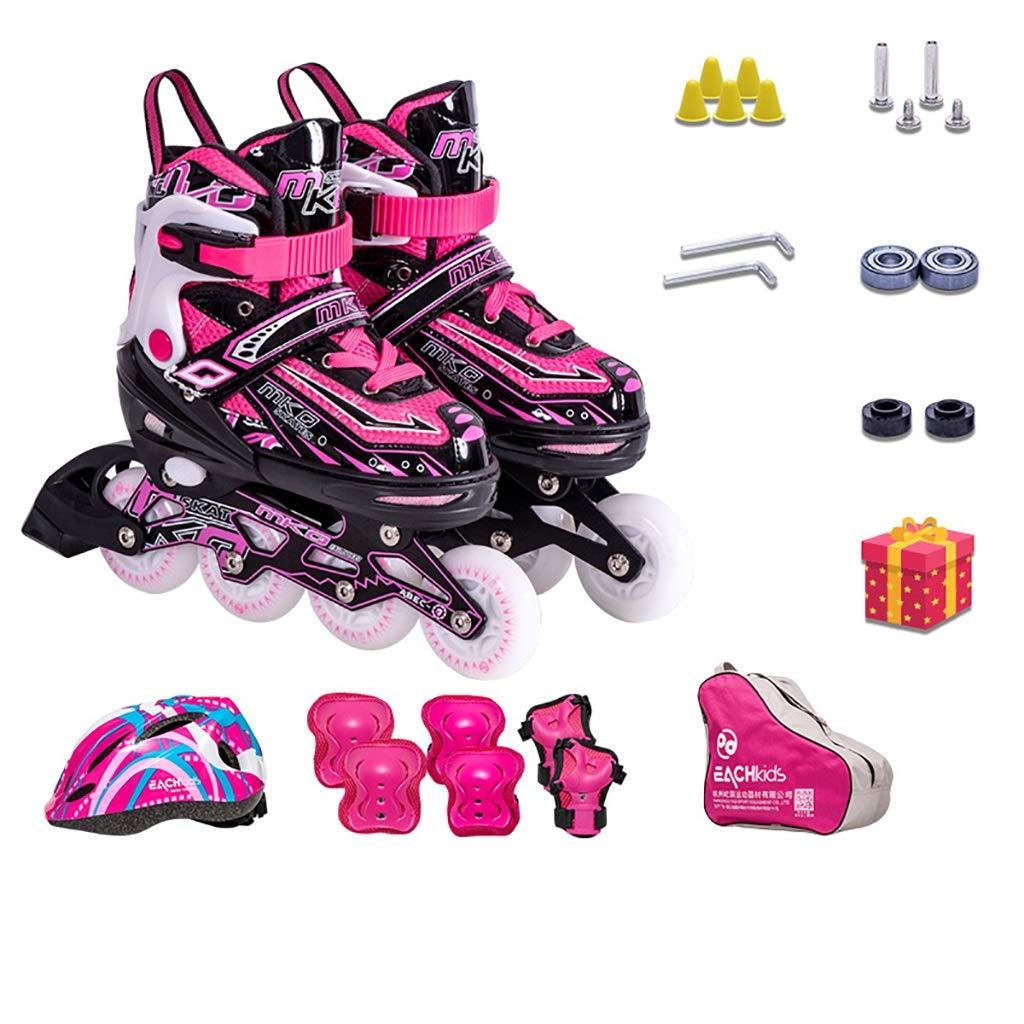 男の子と女の子のスケート、調整可能なローラースケートの子供のフルセット (Color : D, Size : S(EU25-29)) D S(EU25-29)