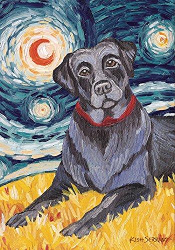(Toland Home Garden Van Growl Black Lab 28 x 40 Inch Decorative Puppy Dog Portrait Starry Night House)
