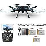 Mattheytoys Syma X5SW 4CH 2.4G 6-Asse Giroscopio RC Wifi FPV Quadricottero Drone con Telecamera HD,3 extra batterie e 4in1 caricabatterie