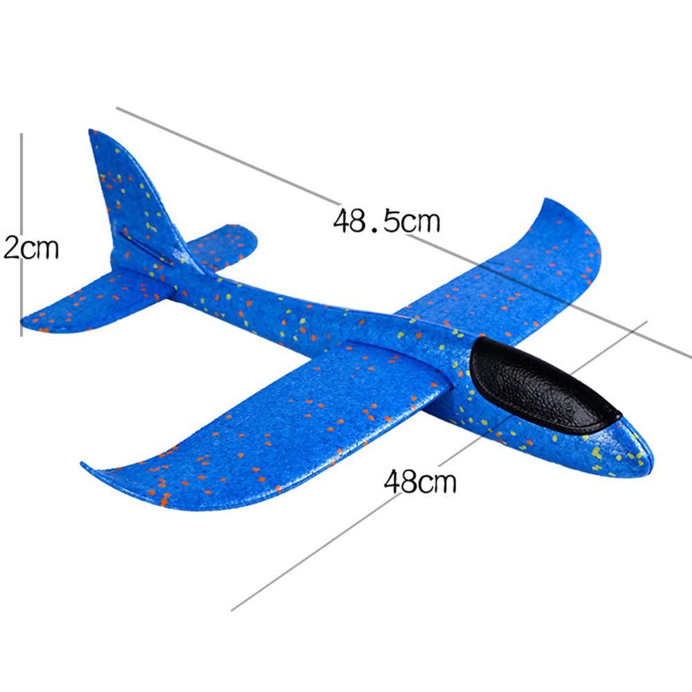 Blue ONEVER 48 cm Grande LED Lanzamiento de la Mano Que Lanza el avi/ón Planeador Aviones de Espuma inercial EPP Juguete ni/ños Modelo de avi/ón al Aire Libre