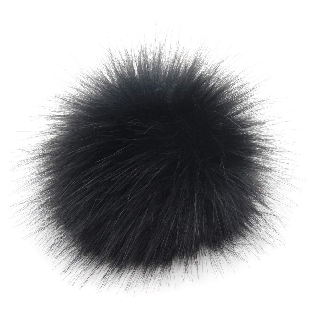 Popular Mix Color Pack of 10CM 3.9inch 6pcs Faux Fox Fur Pompoms Ball for Knitting Hats with Press Snap Buttons