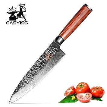 Damascus cuchillo de chef, cuchillo profesional japonés VG ...