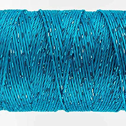 Dk Turquoise 200 yard Rayon with One Strand of Metallic WonderFil Specialty Threads Dazzle 8wt.