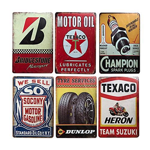 6 pcs Retro Vintage Tin Signs, Wall Metal Posters Plaques, Home Bar Garage Man Cave Decor, 8x12/20x30cm