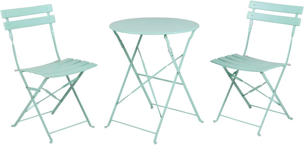 Grand patio Premium Steel Patio Bistro Set, Folding Outdoor Patio Furniture Sets, 3 Piece Patio Set of Foldable Patio Table and Chairs, Mint Green