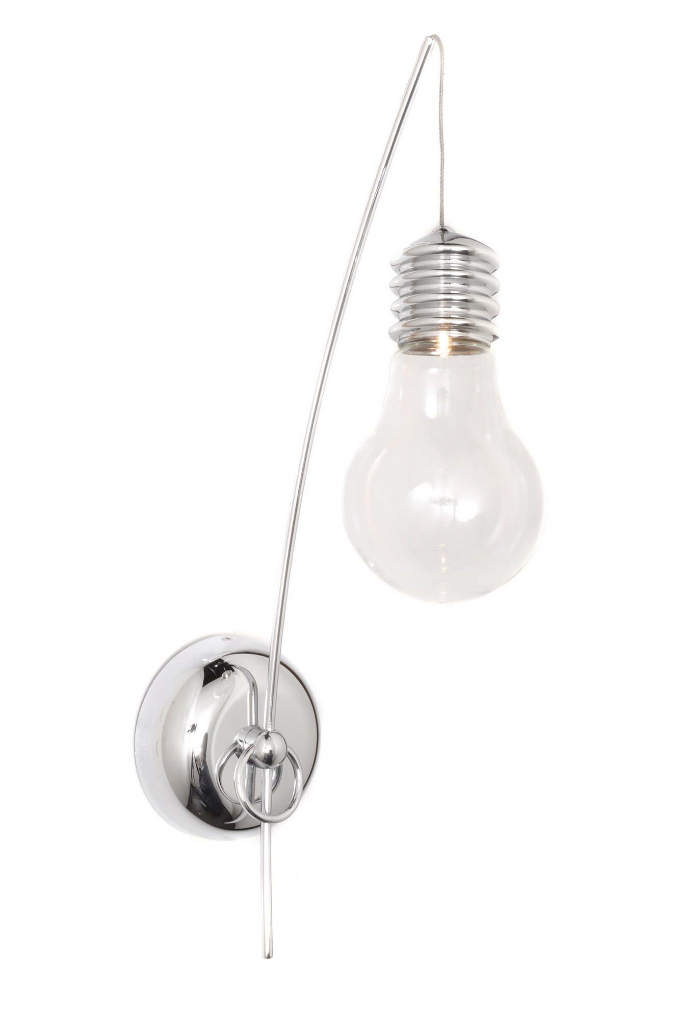 ET2 E22691-18PC Edison 1-Light Wall Sconce, Polished Chrome Finish, Clear Glass, G4 Xenon Bulb, 15W Max., Dry Safety Rated, 2700K Color Temp., Standard Dimmable, Natural Fiber Shade Material, 2016 Rated Lumens
