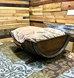 Wine Barrel Dog Bed, Large Personalized Pet Bed with Toy Storage