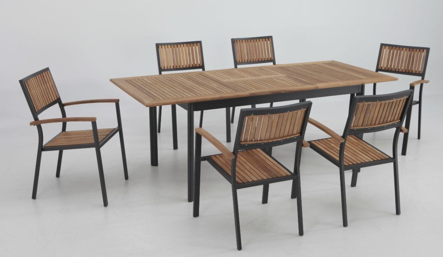 Conjunto terraza y jardin aluminio teka thule 6 sillas: Amazon.es: Jardín