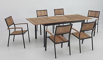 Conjunto terraza y jardin aluminio teka thule 6 sillas ...