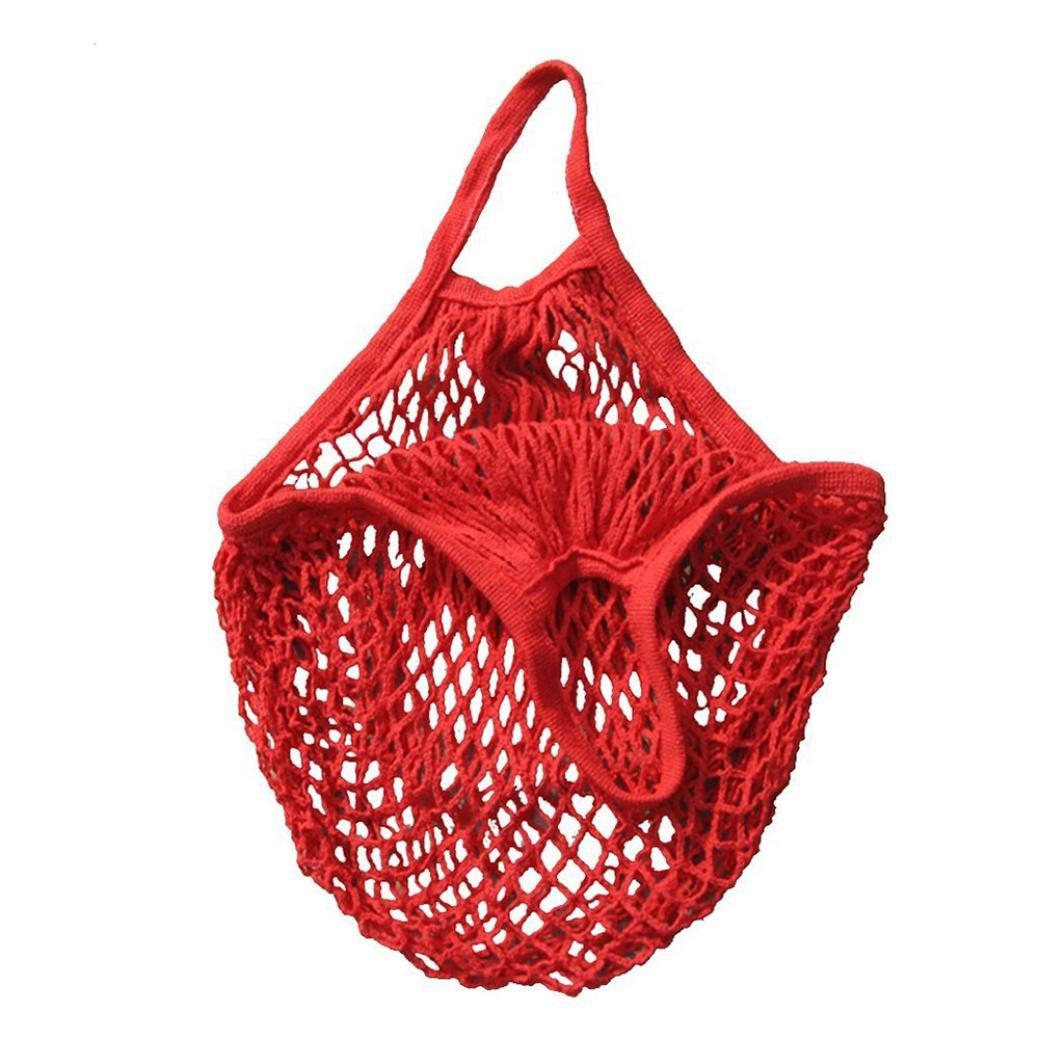 Rakkiss Mesh Net Turtle Bag Fruit Storage Handbag String Shopping Bag Reusable Totes New Handbags (One_Size, Red)