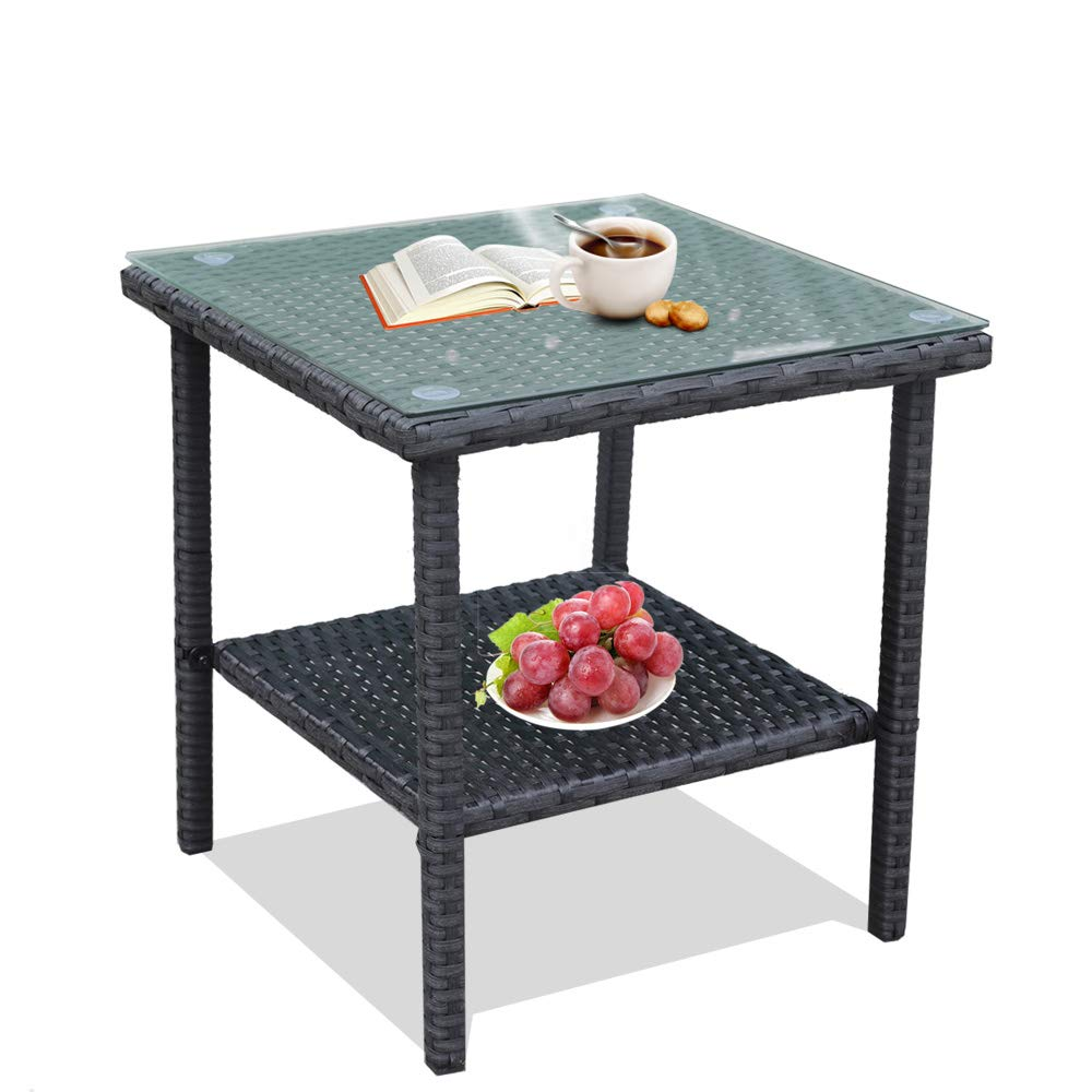 Patio Side Table Coffee Table Tea Table Charcoal Rattan Outdoor Indoor Square Table Balcony Small End Table