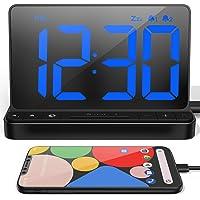 "NOKLEAD Digital Alarm Clock: Large 6.5"" LED Display Clock with USB Charger   Dual Alarm   Adjustable Brightness   Snooze…"