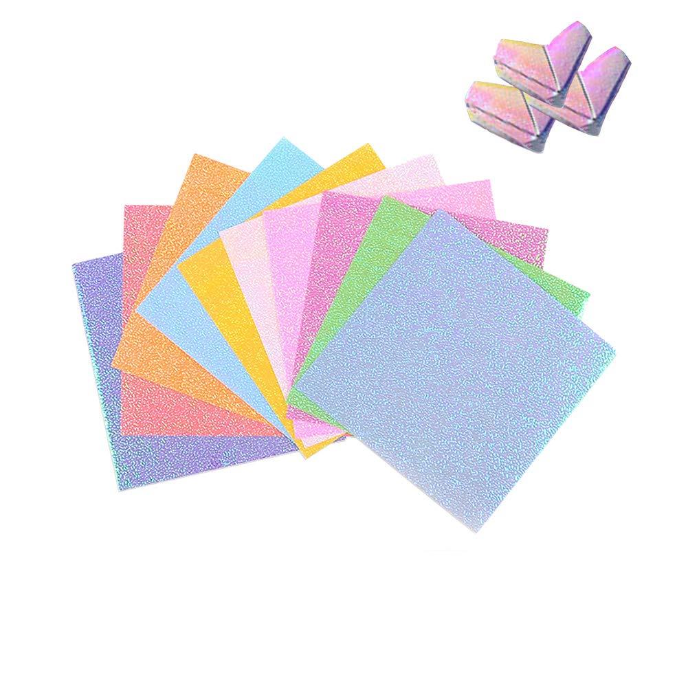 Shager Origami Papier, Faltpapier Glitzernd 10 Farben 6 Size fü r Origami und Bastelprojekte(ca. 50 Blatt) (10 x 10cm)
