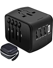 Travel Adapter,Universal Travel Adapter,All-in-one International USB Travel Adapter with High Speed 2.4A 4-port USB Charger Worldwide AC Wall Outlet Plugs for For business travel of US,EU,UK,AU 200 (Black)