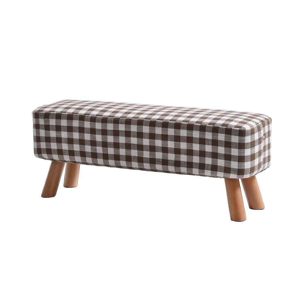 D 87cm29cm35cm DDSS Low Stool Fabric Sofa Stool Solid Wood Foot Stool Small Bench Fashion Pure color Lattice Household shoes Bench Living Room Coffee Table Stool Living Room Furniture