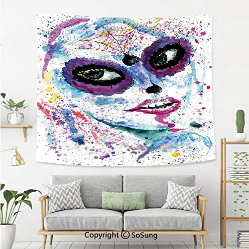 SoSung Girls Wall Tapestry,Grunge Halloween Lady with Sugar Skull Make Up Creepy Dead Face Gothic Woman Artsy,Bedroom Living Room Dorm Wall Hanging,60X50 Inches,Blue Purple]()