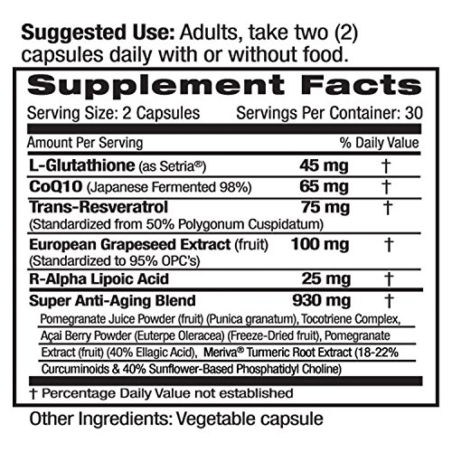 61iVdrhrxYL - Anti-Aging Complex - with L-Glutathione, Resveratrol, CoQ10, R-Alpha Lipoic Acid, Meriva, Pomegranate, & More - Emerald Laboratories (Rainforest) - 60 Vegetable Capsules