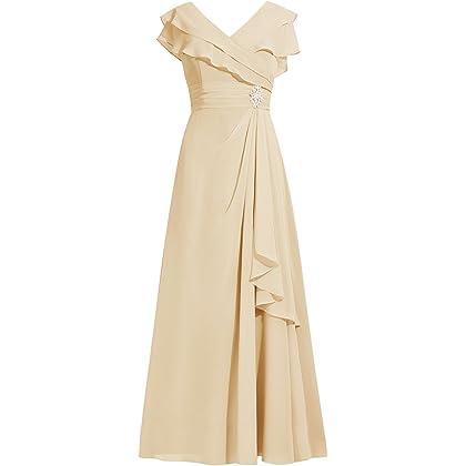 Dresstell レディーズ ロング丈 結婚式ドレス お呼ばれ フォーマルドレス フリルネック ふんわりシフォン 花嫁ワンピース 二次会ドレス ビスチェタイプ ビジュー付き ママへのドレス