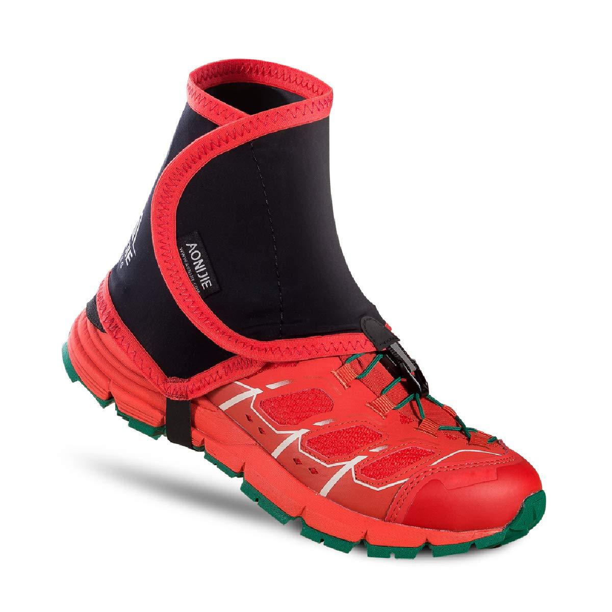 TRIWONDER Low Trail Gaiters Ankle Running Gaiters Wrapid Gators for Men Women (Red&Black)