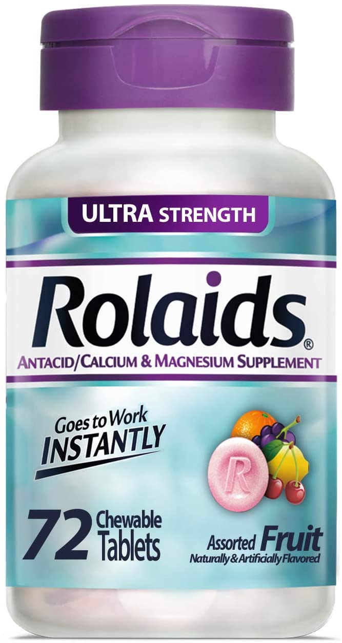 Rolaids Antacid Calcium & Magnesium Supplement Ultra Strength Tablets, Fruit 72 ea: Health & Personal Care