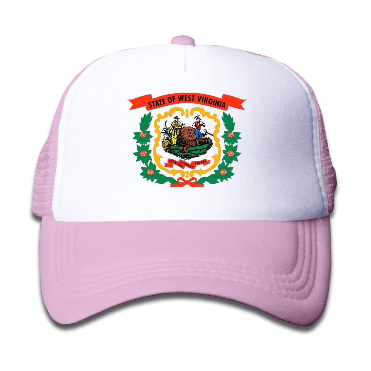 Xinjinhon State of West Virginia Kids Girls Mesh Trucker Hats Adjustable Baseball Caps