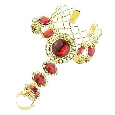 FLAMEER ブレスレット 腕飾り 手首 リング付き 調整可能 インドダンス小物 ベリーダンスアクセサリー ゴールド