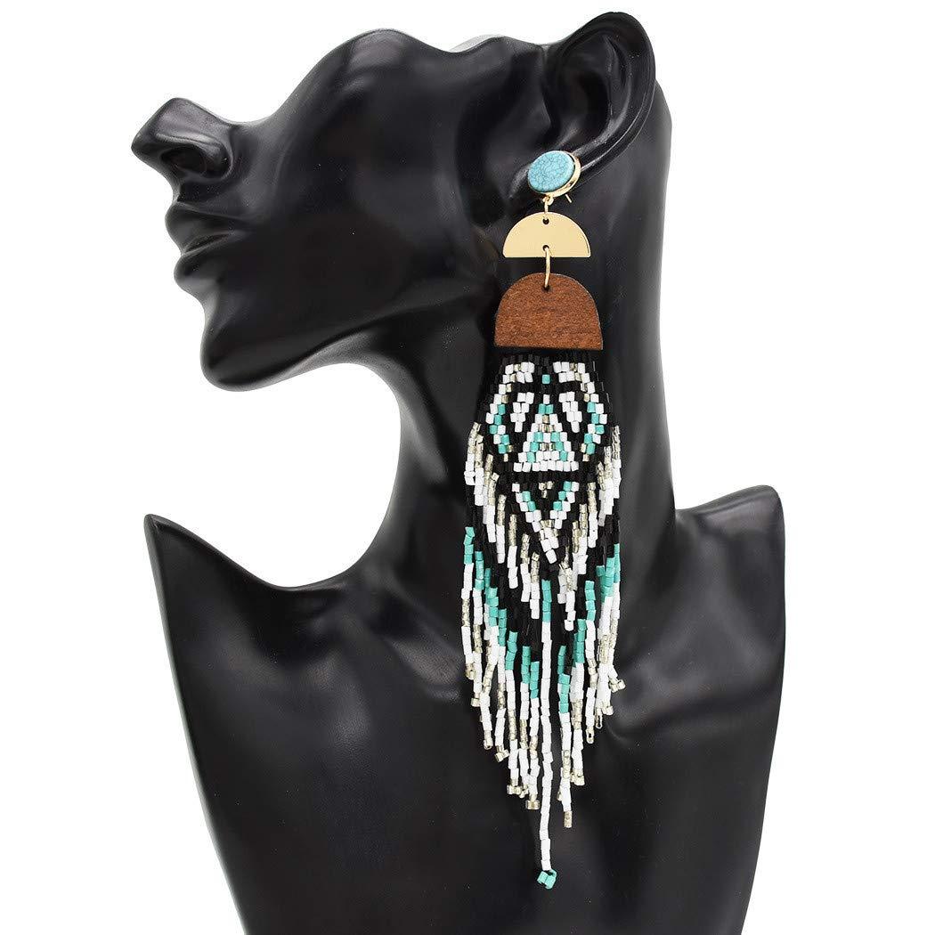 DDLmax Long Tassel Earrings for Women Geometric Irregular Multicolor Handmade Rice Beads Earring Ladies Jewelry Gift