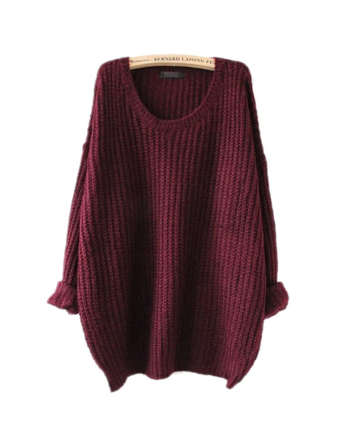 ARJOSA Women's Fashion Oversized Knitted Crewneck Casual Pullovers ...