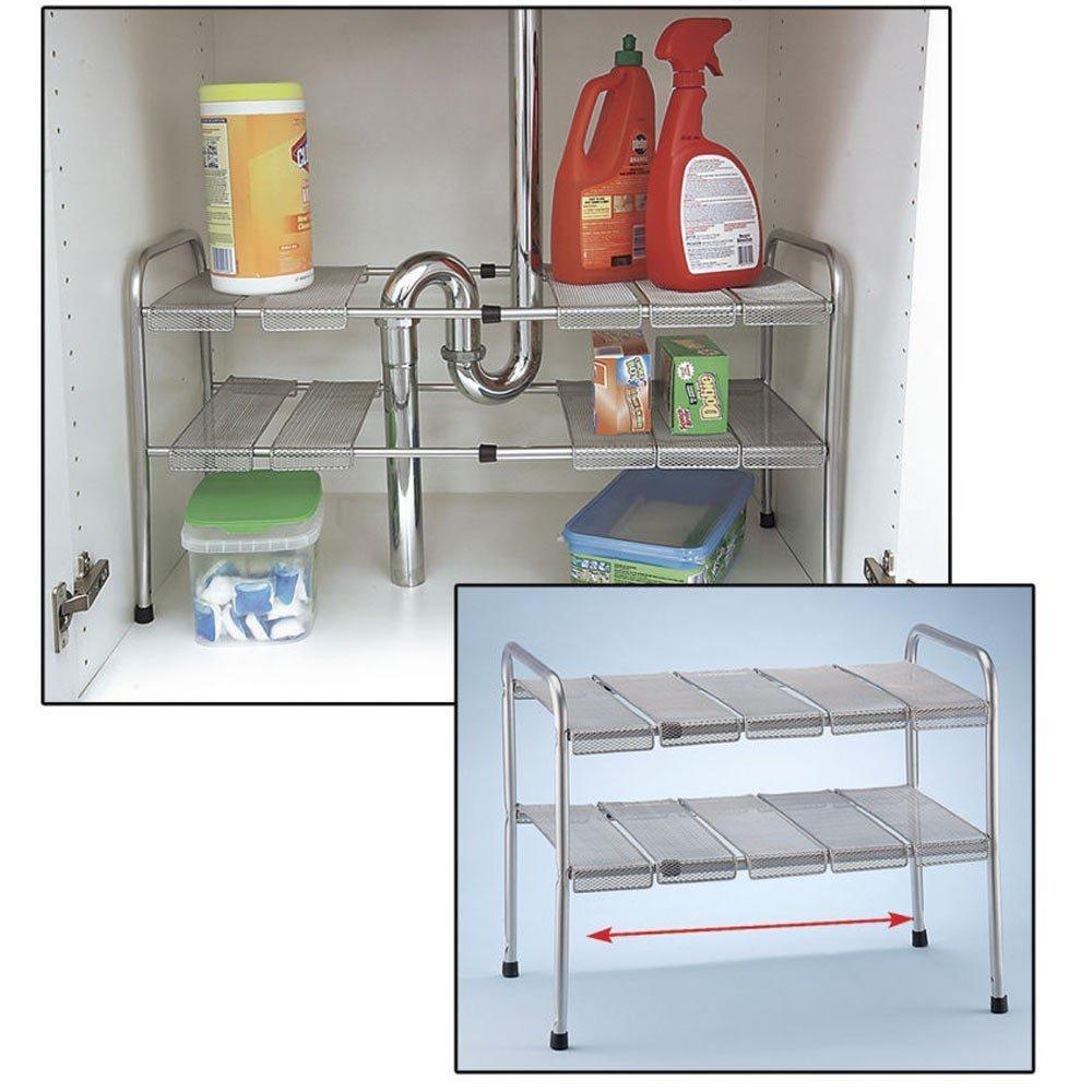 ATB 2 Tier Expandable Adjustable Under Sink Shelf Storage Shelves Kitchen Organizer