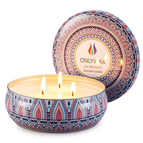 Onlywax Scented Candles Soy Wax 3 Wick Tin Jar, 70 Hour Burn 13.5oz, Outdoor and Indoor,Lilac