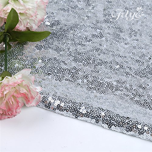 """61iVgQbkevL - 156"""" Round Sparkly silver Sequin Table Cloth Sequin Table Cloth,Cake Sequin Tablecloths, Sequin Linens for Wedding"""