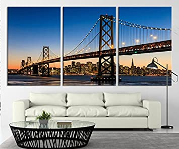 TANDA Large Art San Francisco Skyline And Bay Bridge At Sunset California  Canvas Print Extra Large