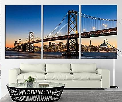 Amazon.com: TANDA Large Art San Francisco Skyline and Bay Bridge At ...