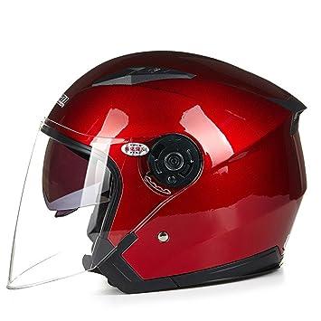 MATEROP Casco Moto Cara Abierta para Moto Racing Casco Moto Vintage con Lente Doble 10 M