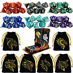 TOYFUL 6 Sets DND Dice Polyhedral Dungeons and Dragons DND RPG MTG Table Game Dice Bulk with Free Six Drawstring Bags and D&D Dice Tower Black