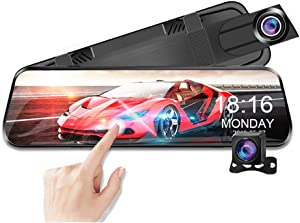 "10"" Mirror Dash Cam 1080P FHD Camera with GPS Touch Screen Front and Rear View Dual Lens Full HD WDR Night Vision, G-Sensor, for Cars/Trucks"
