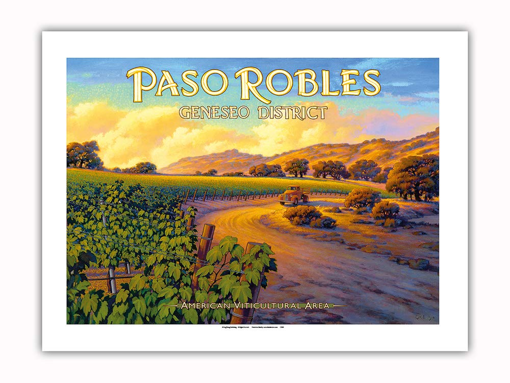 Pacifica Island Art - Paso Robles - Geneseo District - Central Coast AVA Vineyards - California Wine Country Art by Kerne Erickson - Premium 290gsm Giclée Art Print 18in x 24in by Pacifica Island Art (Image #1)