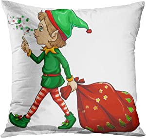 Joaffba Throw Pillow Cover Decorative 18x18 Inch Pillow Case Young Elf Dragging Sack Gifts Christmas Home Car Sofa Office Meeting Room Decor Cushion Pillowcase