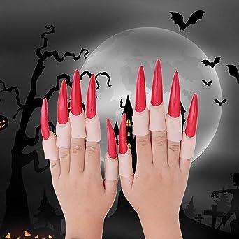 Wankd - 10 uñas postizas para decoración de Halloween, rojo ...