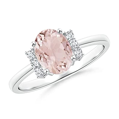 Angara Tapered Shank Solitaire Oval Morganite Ring with Diamonds iWWcZ