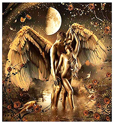 - Barlingrock Full Drill Diamond Paintings by Number Kits for Adults,Gold Angel Lovers 5D DIY Rhinestone Painting Arts Craft Home Wall Decor for Livingroom Bedroom Decoration 30x40cm/12x16