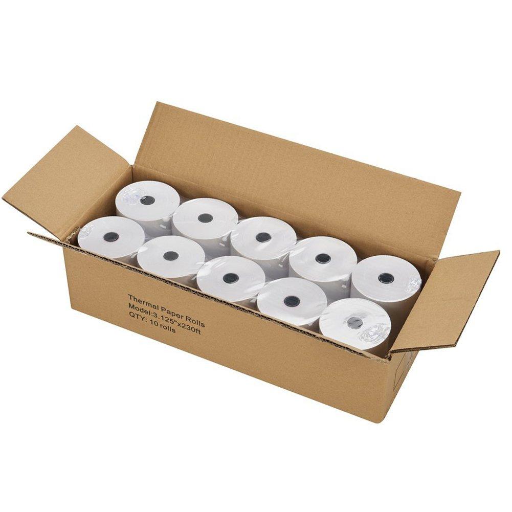 SJPACK Thermal Paper 3 1/8 x 230ft Pos Receipt Paper, 10 Rolls Cash Register Roll TM-T88 T-20 T-90 Bixolon SRP-350 370 by SJPACK
