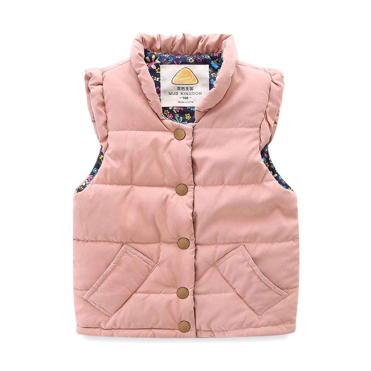 Mud Kingdom Toddler Girls Vests Outerwear Lightweight Cute Floral 2T Pink by Mud Kingdom