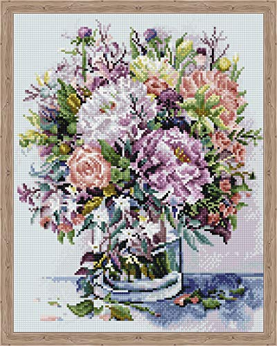 5D Diamond Painting Kit For Adults and Kids - Full Drill Mosaic - Bouquet with Peonies - Includes 16x20