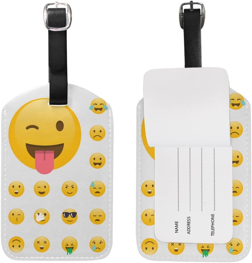 Chen Miranda Set Emoticons Luggage Tag PU Leather Travel Suitcase Label ID Tag Baggage claim tag for Trolley case Kids Bag 1 Piece
