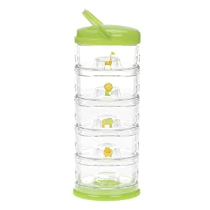 Innobaby Packin' Smart Stackable and Portable Storage System for Formula, Baby Snacks and More. 5 Stackable Cups in Lime Sorbet. BPA Free.